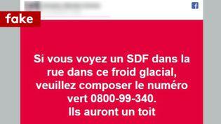 Capture d'écran sur Facebook sur un numéro d'urgence à composer si on voit un SDF dans le froid glacial. (CAPTURE D'ECRAN/FACEBOOK)