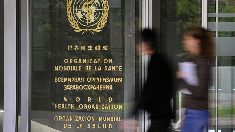 Des personnes entrent dans les locaux de l'Organisation mondiale de la Santé, à Genève (Suisse) le 28 avril 2009. (FABRICE COFFRINI / AFP)