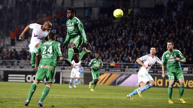 André Ayew place une tête victorieuse contre Saint-Etienne (CYRIL SOLLIER / MAXPPP)