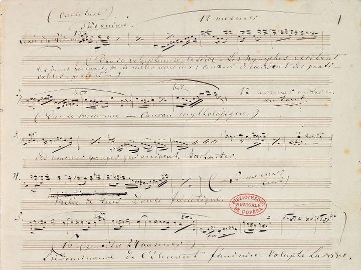 """Détail des """"notes pour le maître de ballet"""" de """"Tannhaüser"""" rédigées par Wagner.  (Bibliothèque nationale de France)"""