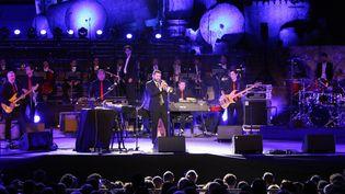 Le musicien franco-libanais Ibrahim Maalouf sur scène au Festival international de Baalbek au Liban en juillet 2017. (STRINGER / AFP)