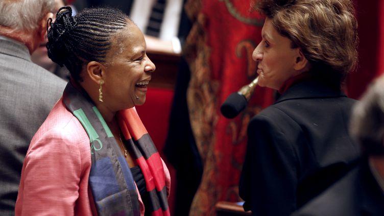 La ministre de la justice était en grande forme ce mardi 5 février 2013 à l'Assemblée nationale lors du débat sur le mariage pour tous (FRANCOIS GUILLOT / AFP)