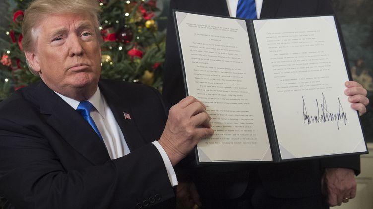 Donald Trump a reconnu, mercredi 7 décembre, que la ville de Jérusalem était la capitale d'Israël. (SAUL LOEB / AFP)