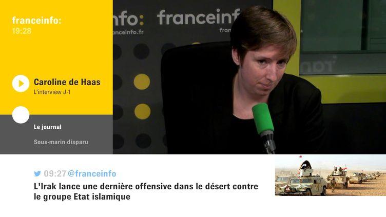 Caroline de Haas, jeudi 23 novembre sur franceinfo. (FRANCEINFO / RADIOFRANCE)