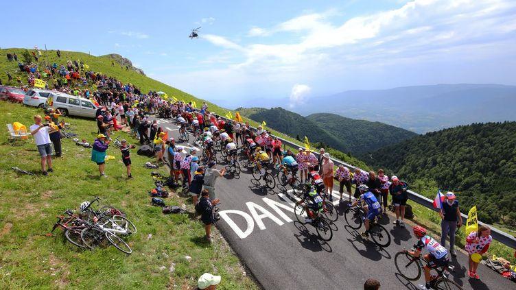 Le peloton lors de l'ascension du Grand Colombier pendant le Tour de France 2017. (DE WAELE TIM / TDWSPORT SARL)