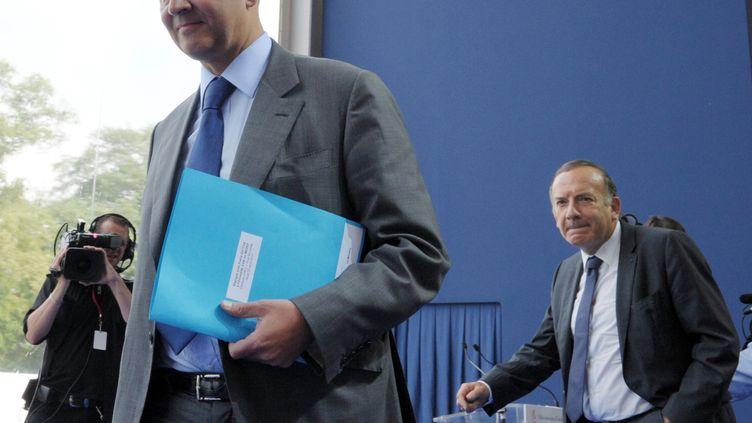 Le ministre de l'Economie, Pierre Moscovici, le 29 août 2013 à Jouy-en-Josas (Yvelines), lors de l'université d'été du Medef. (ERIC PIERMONT / AFP)