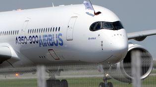 Un membre d'équipage brandit un drapeau Airbus après l'atterrissage de l'A350 pour son premier vol d'essai, à Toulouse-Blagnac (Haute-Garonne), le 14 juin 2013. (ERIC CABANIS / AFP)
