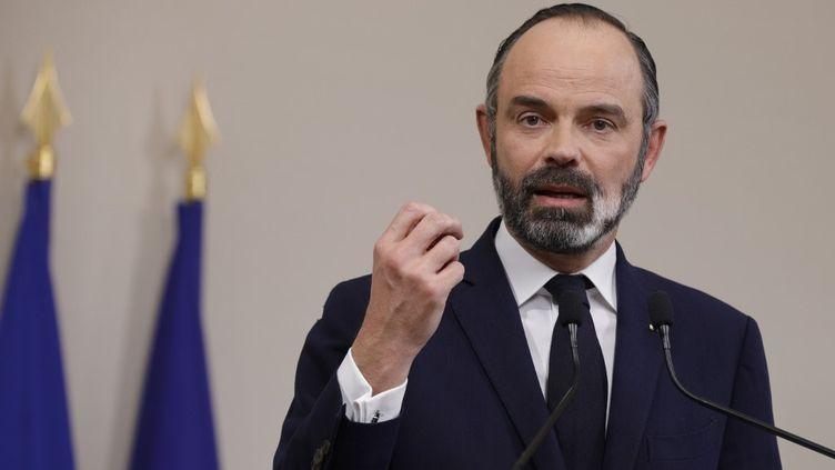 Le Premier ministre, Edouard Philippe, lors d'une conférence de presse, à Paris, le 28 mars 2020. (GEOFFROY VAN DER HASSELT / AFP)
