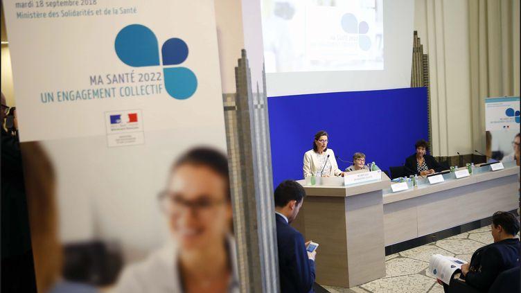 La ministre de la Santé Agnès Buzyn présente le plan santé du gouvernement intitulé Ma santé 2022, le 18 septembre 2018, à Paris. (LUC NOBOUT / MAXPPP)