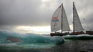 """Pari réussi pour Tara. Le voilier de 36 mètres, embarquant quatorze personnes, marins et scientifiques, a bouclé son tour de l'Arctique en sept mois, à peine. """"Un timing de fou !"""", reconnaît Vincent Hilaire, l'un des correspondants de l'expédition, fier de ce succès. (ANNA DENIAUD / TARA EXPEDITIONS)"""
