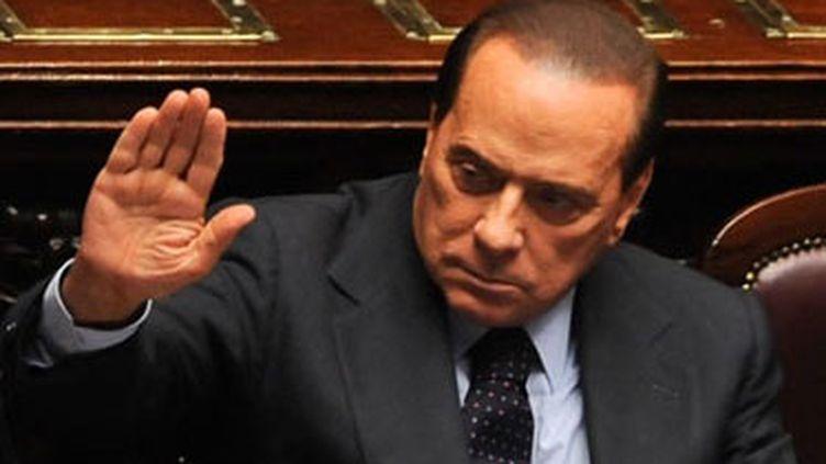 Le président du Conseil italien Silvio Berlusconi lors du vote de confiance à son gouvernement, le 28 septembre 2010 (AFP/ANDREAS SOLARO)