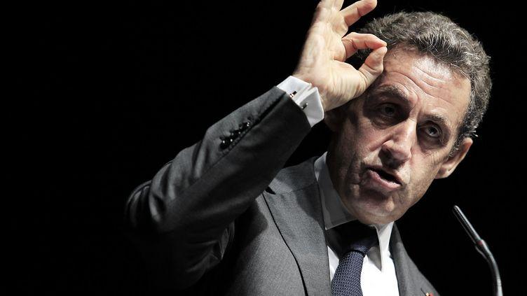 Discours de Nicolas Sarkozy dans un meeting le 22 avril 2015 à Nice (Alpes-Maritimes). (JEAN CHRISTOPHE MAGNENET / AFP)