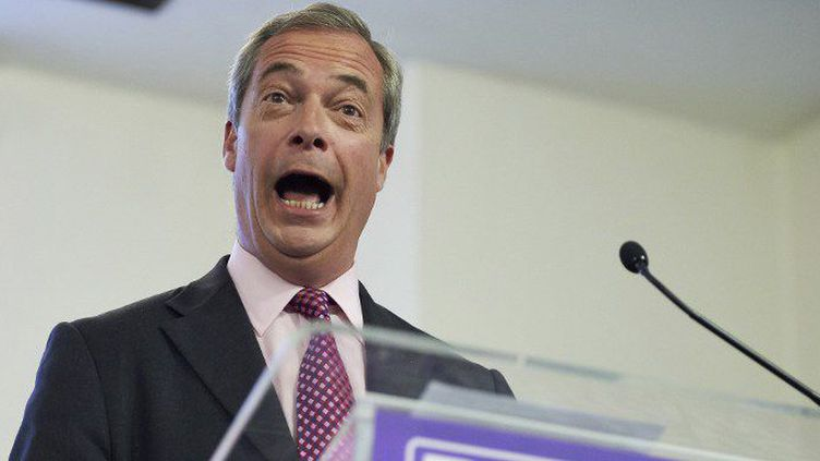 Nigel Farage, l'ancien patron de Ukip, lors de la campagne pour le Brexit. (afp/ Niklas Hallen)