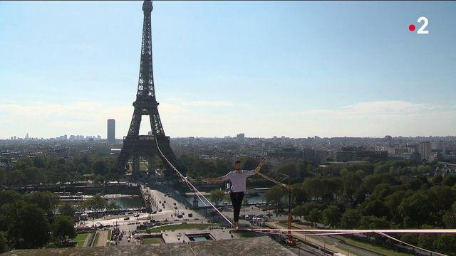 Paris : de la Tour Eiffel au Théâtre de Chaillot, Nathan Paulin réussit une traversée en funambule