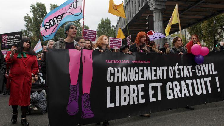 Le cortège de l'Existrans, une marche annuelle pour les droits des personnes trans et intersexe,à Paris, le 17 octobre 2015. (VINCENT PALMIER / AFP)