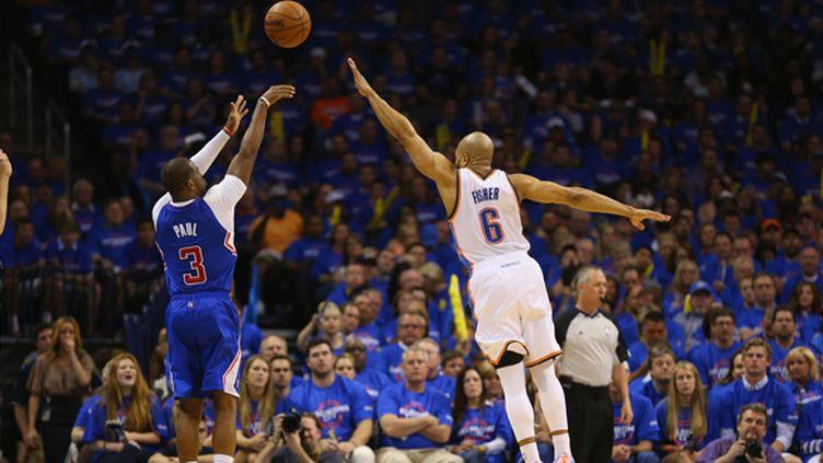 Chris Paul (Clippers) intenable dans le premier match contre le Thunder (RONALD MARTINEZ / GETTY IMAGES NORTH AMERICA)