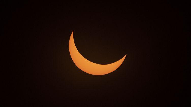 L'éclipse de soleil vue depuis La Higuera (Chili), le 2 juillet 2019. (MARTIN BERNETTI / AFP)