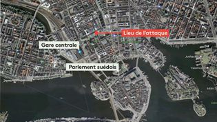 La carte du lieu où s'est déroulé une attaque au camion bélier, le 7 avril 2017, dans le centre-ville de Stockholm (Suède). (FRANCEINFO)