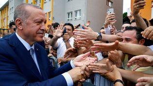 Le président turc Recep Tayyip Erdogan lors de la campagne électorale, le 24 juin 2018 à Istanbul (Turquie). (KAYHAN OZER / ANADOLU AGENCY)