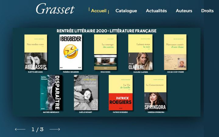 Capture d'écran du site de la maison d'édition Grasset, page de la rentrée littéraire 2020 (GRASSET)