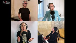 "Le ténor Andrea Bocelli, Céline Dion, Lady Gaga et le pianiste Lang Lang interprètent ""The Prayer"" le 19 avril 2020 pour le concert virtuel One World Together At Home pour Global Citizen et l'OMS. (SAISIE ECRAN YOUTUBE ONE WORLD TOGETHER AT HOME)"