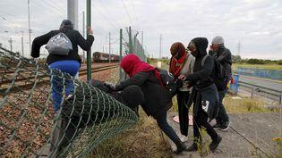 Des migrants franchissent des grillages pour tenter d'accéder au tunnel sous la Manche, près de Calais (Pas-de-Calais), le 29 juillet 2015. (PASCAL ROSSIGNOL / REUTERS)