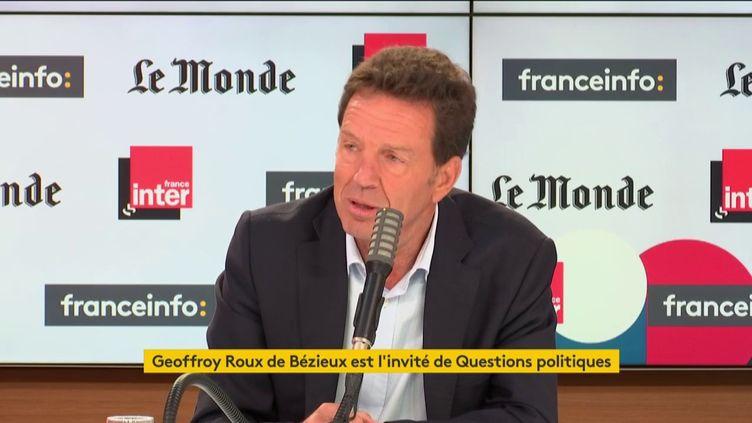 Geoffroy Roux de Bézieux, le président du Medef, dans le studio de franceinfo,le dimanche 13 septembre 2020. (FRANCEINFO / RADIOFRANCE)