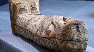 L'un des sarcophages découvert à Saqqara (Egypte),le 14 novembre 2020. (AHMED HASAN / AFP)