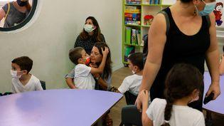 La rentrée scolaire chez les petits à l'école israélienne Beit Hakerem à Jérusalem, le 1er septembre 2021.  (AFP)