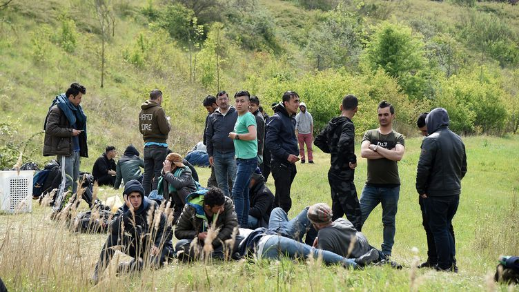 Des migrants dans la zone duPuythouck à Grande-Synthe (Nord), le 2 mai 2017, un mois après l'incendie du camp de la Linière, qui accueillait 1 400 personnes. (MAXPPP)