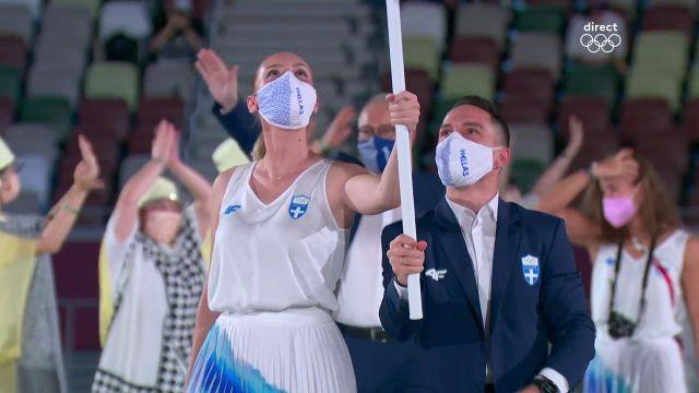 Comme la tradition l'impose, la Grèce ouvre le bal des délégations lors de la cérémonie d'ouverture des Jeux Olympiques.