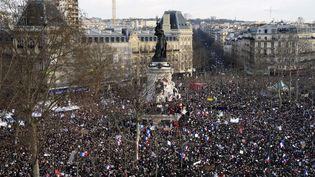 La place de la Bastille à Paris pendant la marche républicaine  (BERTRAND GUAY / AFP)
