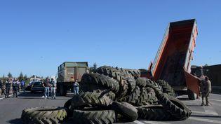 Des agriculteurs bloquent l'autoroute A64 entre Capens et Toulouse, le 8 octobre 2019. (NATHALIE SAINT-AFFRE / MAXPPP)