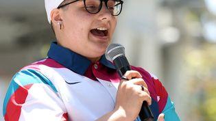 Alana Smith lors de l'annonce de la sélection américaine pour les épreuves de skateboard aux Jeux de Tokyo le 21 juin 2021. (RONALD MARTINEZ / GETTY IMAGES NORTH AMERICA)