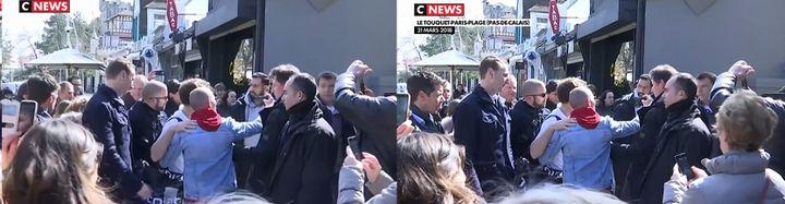 Capture d'écran de deux sujets de CNews sur le week-end d'Emmanuel Macron au Touquet. A gauche, le sujet diffusé le 21 avril 2019. A droite, le sujet diffusé le 31 mars 2018. (CNEWS)