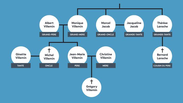 Schéma des membres de la famille Villemin impliqués dans l'enquête sur le meurtre du petit Grégory. (ANSELME CALABRESE / FRANCEINFO)