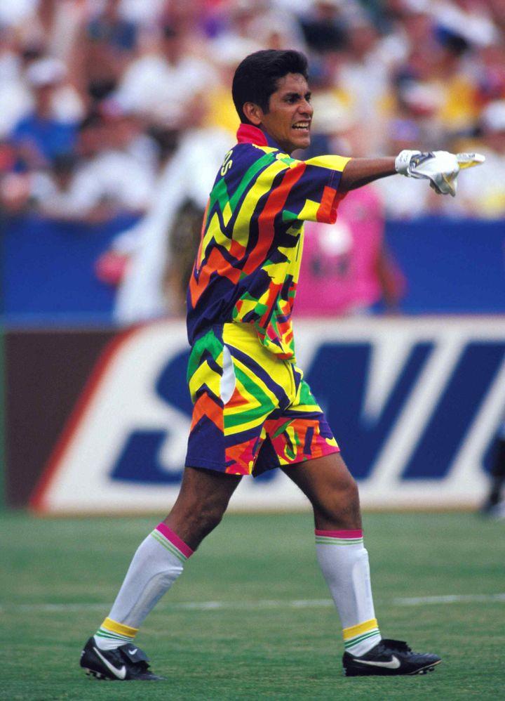 Le gardien mexicain Jorge Campos lors de la Coupe du monde 1994 contre la Norvège, le 16 juillet 1994 à Washington (Etats-Unis). (MEXSPORT / MEXSPORT)