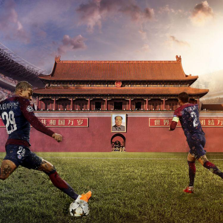 Illustration représentant le football français face au marché chinois. (AKSONOV / GEOFFROY VAN DER HASSELT / BAPTISTE BOYER / FRANCEINFO)