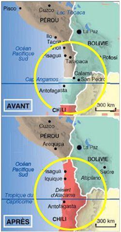 Sur la carte du haut, la Bolivie bénéficie d'une bande côtière de 400 km. Sur la carte du bas, elle a perdu son accès à la mer à l'issue de la guerre du Pacifique (1879-1883) contre le Chili. (Blog Siglo XXI)