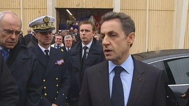 Nicolas Sarkozy àl'école navale de Lanvéoc-Poulmic (Finistère) pour la présentation de ses vœux aux armées, le 3 janvier 2012. (FRANCE 2)