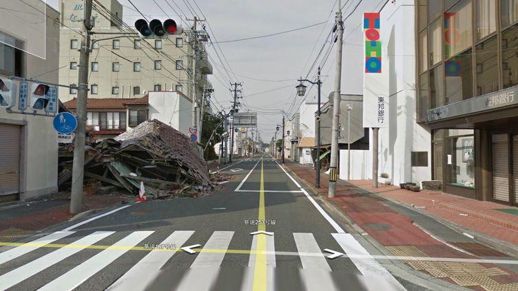 Capture d'écran de la visite virtuelle proposée par Google Maps à Namie, près de Fukushima, au Japon. (GOOGLE MAPS / FRANCETV INFO)
