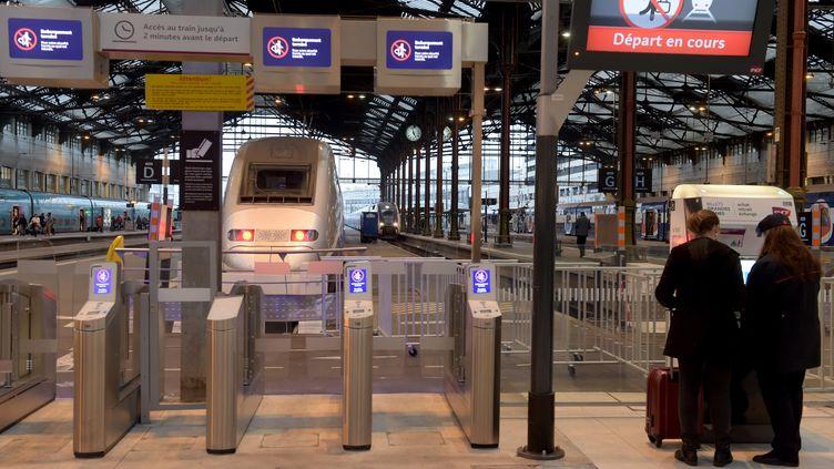 Des portes d'embarquement à la gare de Lyon, le 11 janvier 2019, à Paris. (ERIC PIERMONT / AFP)