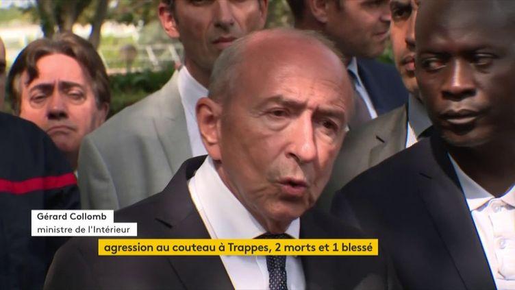 Gérard Collomb, le 23 août 2018, à Trappes (Yvelines). (FRANCEINFO)