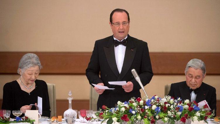 François Hollande prononce un discours lors d'un dîner au palais impérial de Tokyo (Japon), le 7 juin 2013. (BERTRAND LANGLOIS / AFP)