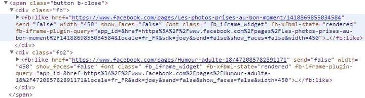 """Le code caché derrière le bouton """"Fermer"""" fait en fait """"aimer"""" à l'internaute des pages Facebook à son insu. (VINCENT MATALON / FRANCETV INFO)"""