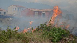 Un violent incendie s'est déclaré aux abords de Bizes-Minervois (Aude), le 13 juillet 2016. (MAXPPP)