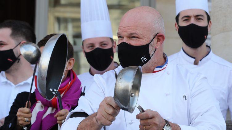 Le cuisinier bordelais Philippe Etchebest à Bordeaux, le 9 octobre 2020. (FABIEN COTTEREAU / MAXPPP)