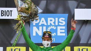Primoz Roglic (Jumbo Vista) s'impose sur la 6e étape de Paris-Nice, vendredi 12 mars 2021.  (ANNE-CHRISTINE POUJOULAT / AFP)