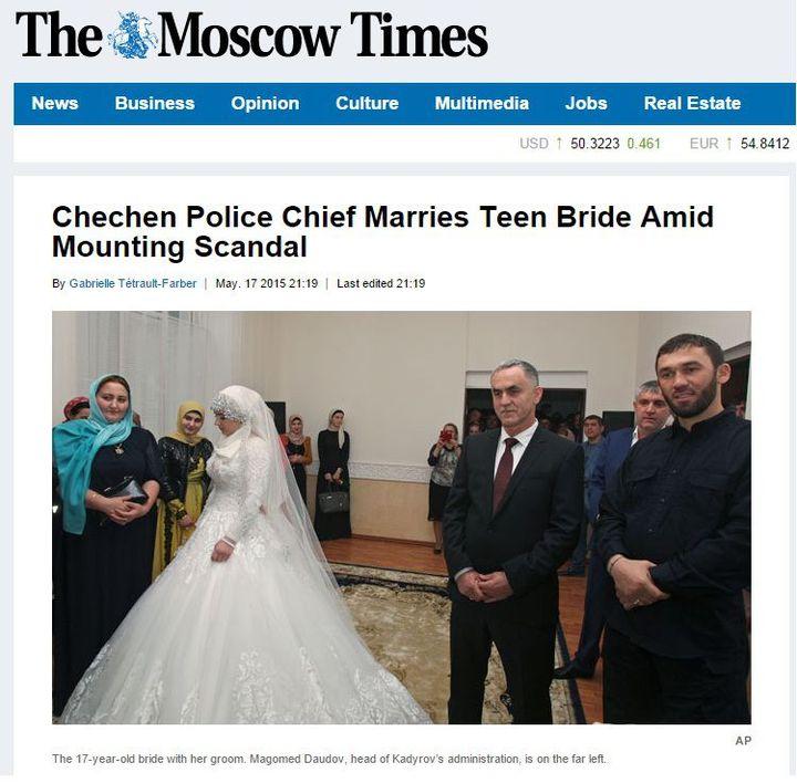 Louisa Guoïlabieva a épousé le chef de la police locale,Najoud Goutchigov (Capture d'écran du «Moscow Times» )