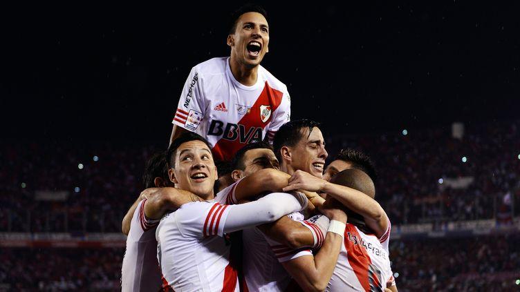 Ramiro Funes Mori, au centre, a inscrit le 3e but de la rencontre (CHARLY DIAZ AZCUE / AFP)